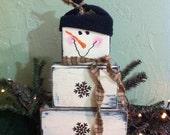 Snowman block set  primitive stacking wood rusty snowflake buttons black hat