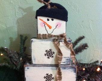 Snowman stacking wood blocks rusty snowflake buttons  2x4 Christmas decor