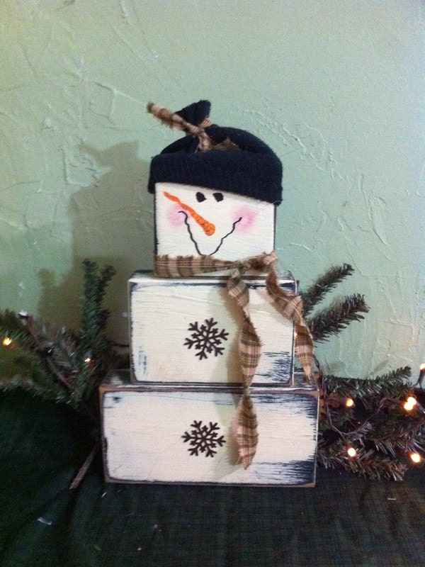 Snowman Primitive Stacking Wood Blocks Rusty By Trimblecrafts