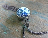 blue willow - tin bead and brass necklace