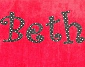 Personalized Large Salsa Red Velour Beach Towel with Rick Rack or Ribbon, Pool Towel, Bath Towel, Kids Bath Towel, College Towel, Camp Towel