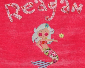 Personalized Large Fuchsia Velour Beach Towel with Mermaid, Pool Towel, Kids Bath Towel, College Towel, Bridal Party Gift, Mermaid Gift