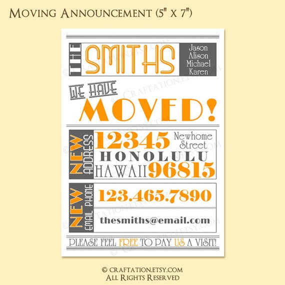 Custom Modern Vintage Retro Moving Announcement / Housewarming Invite Invitation Digital Design - Typography / We Have Moved - Printable