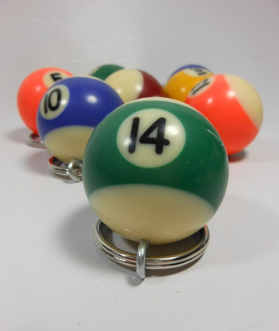 BILLIARD BALL KEYCHAIN - Lucky Number 14 - Small Pool Ball Key Ring - Recycled Game Piece