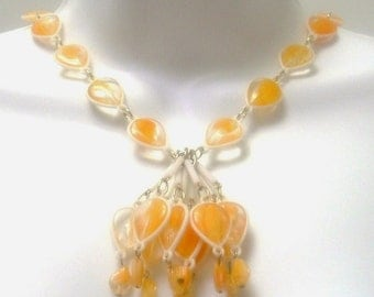 Vintage HONG KONG Plastic Beaded Dangle Necklace with Matching Cluster Earrings