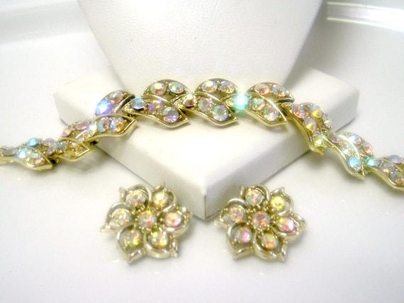 Vintage Aurora Borealis Rhinestone Necklace Bracelet Earring Set