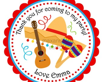 Fiesta Personalized Stickers, Address Labels, Gift Tags, Party Favors, Hang Tags, Seals- Set of 12