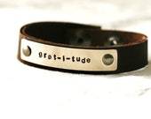 Gratitude Bracelet...Silver...Handstamped...thank you...dictionary...modern...simple...free shipping