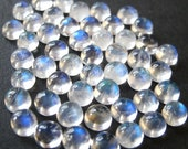 Gemstone Cabochon Rainbow Moonstone 4mm Round FOUR CABS