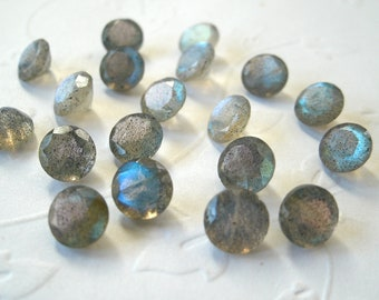 Faceted Gemstone Labradorite 5mm Brilliant Cut FOR TWO