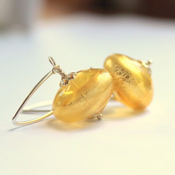 Gold blown glass sterling silver earrings pale amber