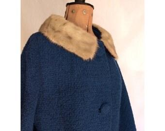 Reserved - Warm Blue Boucele Jacket - Vintage Womens Large