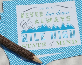 Colorado Postcard Set - Always Mile High Colorado State of Mind Postcards by Oh Geez Design