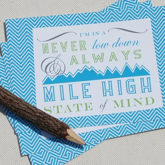 Colorado Postcard Set - Always Mile High Colorado State of Mind Postcards by Oh Geez Design