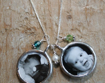 Double Soldered Glass Photo Charm Necklace, New Mom Gift, Picture Necklace, Memorial Photo Charm, Keepsake Necklace, Mother's Necklace
