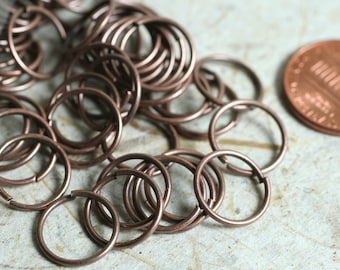 Antique copper jump ring, 18g thick, 12mm outer diameter, 50 pcs (item ID ACJR18G12m)