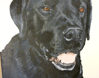 Black Lab Pet Portrait Made to Order You Provide Picture or Idea 8x10 oil painting by Pigatopia