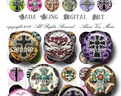 25mm circles, Glitzy  Crosses...  digital collage sheets for  bottle caps  and soldered pendants  INSTANT Digital Download at Checkout