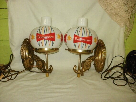 Pair Of Vintage Budweiser Beer Lamps Sconces Light Up Cool Old