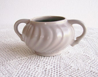 Vintage Sugar Bowl Fransiscan Swirl Coronado Gray Pottery Shabby Kitchen Decor