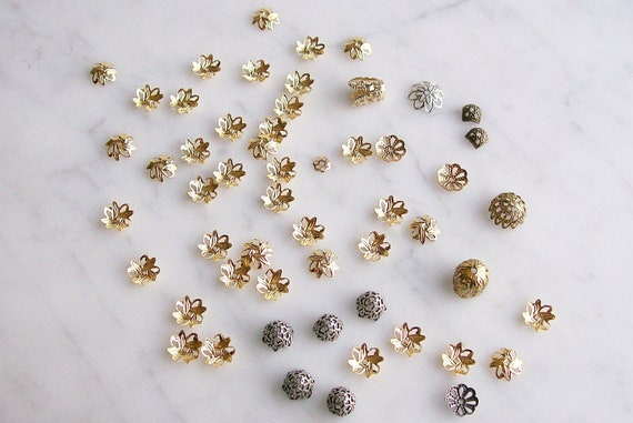 Mixed Metals Bead Caps Jewelry Supplies Parts Filigree Caps 54 Pcs