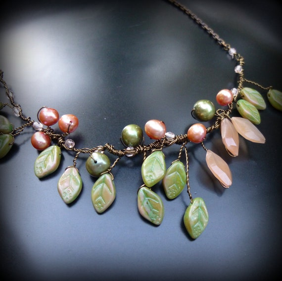 Leaf and Peach Moonstone Necklace, Olive Green, Peach, Wire Wrapped, Autumnal Tones, Wire Work