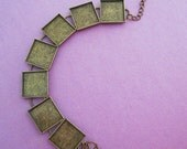 10 Silver Plated Bracelet Blanks with 16mm Square Bronze Bezels for Glass, Glaze, Resin, Photo Jewelry, Stone, Cabochons