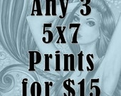 Fantasy 5x7 Prints - Witch Art - Mermaid Art - Fairy Art - Any 3 Fantasy Art Nikki Burnette 5x7 Prints