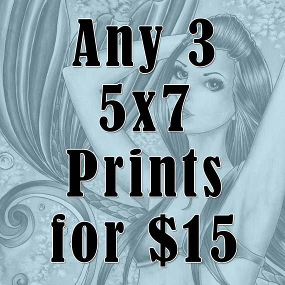 Fantasy 5x7 Prints - Witch Art - Mermaid Art - Fairy Art - Any 3 Fantasy Art Nikki Burnette 5x7 Prints