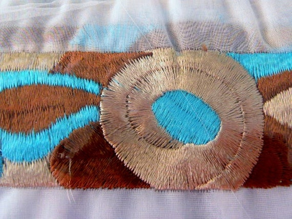 Vintage Mod Retro Embroidered Fabric Sewing Trim Turquoise and Browns