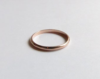 14K Solid Rose Gold White Gold or Yellow Gold Narrow Contemporary Minimalist  Wedding Band or Stacking Band. Custom Gold Wedding Band.