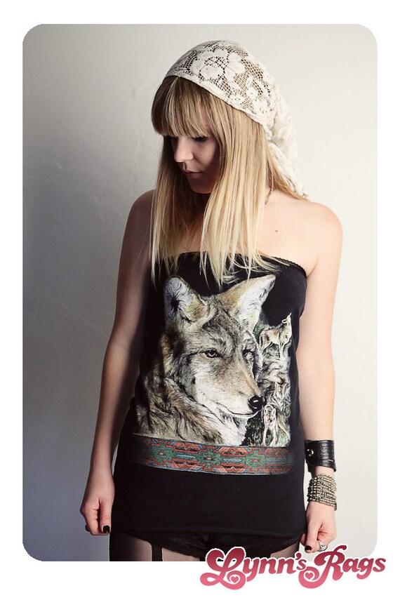 WOLF Black Polka Dot TUBE TOP Handmade Shirt Wolves Strapless