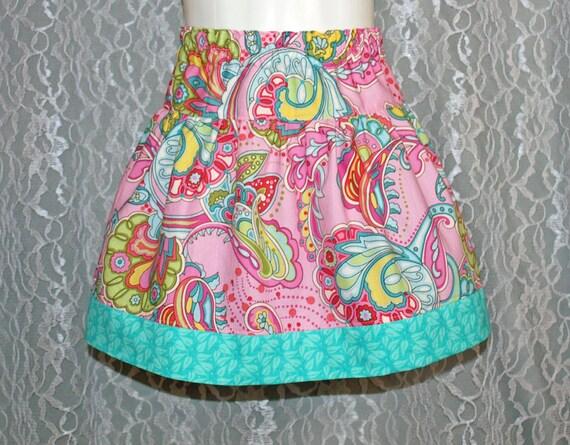 Size 18-24 months - Pink Peacock Swirl - Boutique Girls Skirt - OOAK