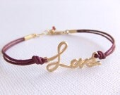 Love Jewelry Bracelet - Burgundy Cord - Garnet Birthstone - January Birthday - Friendship - Gift for Her - Word Love Charm - Girlfriend Gift