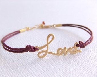 Love Jewelry Bracelet - Burgundy Cord - January Birthstone - 16K Gold Plated Bracelet - Friendship - Gift for Her - Valentines Day Gift