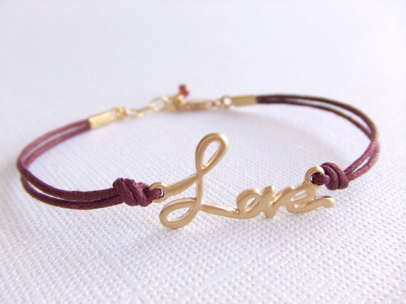 Love Jewelry Bracelet - Burgundy Cord - Garnet Birthstone - January Birthday - Friendship - Gift for Her - Word Love Charm - Girlfriend Gift