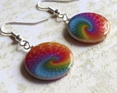 Rainbow spiral earrings on round shells. HALF PRICE SALE. Take 50% off.