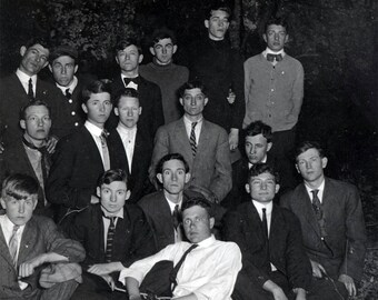vintage photo Big Group Young Men at Night