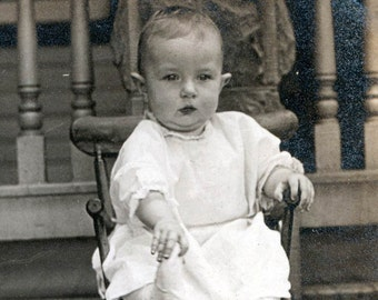 vintage photo Sweet Baby in High Chair 1912 Chicago