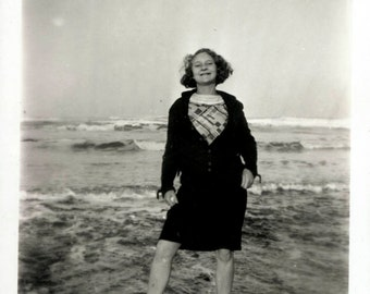 vintage photo Teen Girl WAdes in Water Happiness
