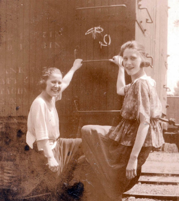 vintage photo Two Teen Girls Hop a Train