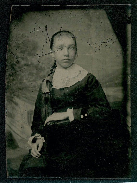 Vintage photo Girl with long Braid Hair tintype photo
