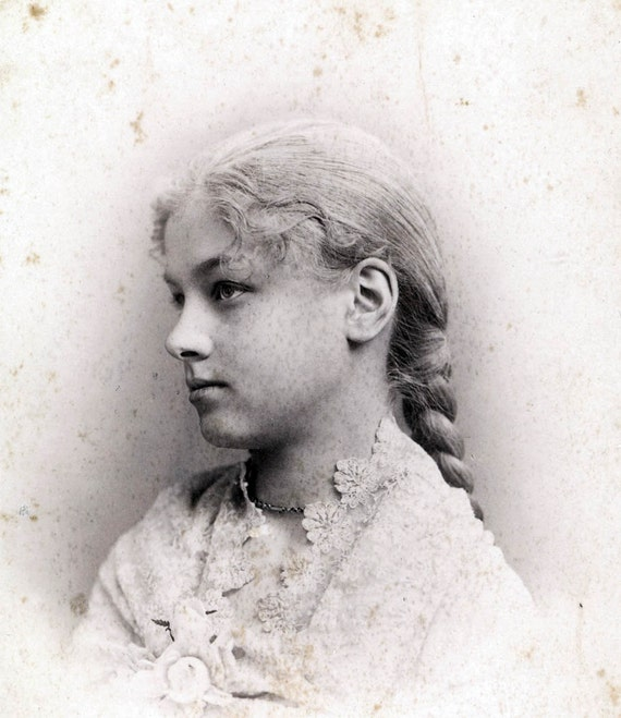 vintage photo Teenage Girl Beauty LAwrence Kansas long braided hair