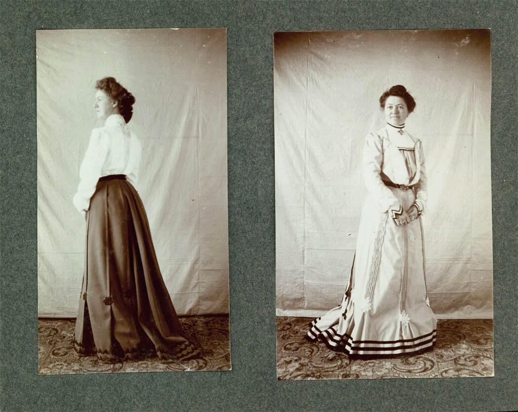 Vintage Photo 2 Views 1900 FAshion Woman Formal Dress Pleats
