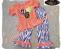 Girl Zebra Fall Outfit Set - Acorn Top Pant Set - Baby Girl Toddler Infant Fall Clothing 3 6 9 12 18 24 month size 2T 2 3T 3 4T 4 5T 5 6 7 8