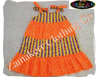 3t 3 4t 4 ONLY CLEARANCE SALE Girl Halloween Dress Candy Corn Halloween Tiered Ruffle Dress Girl Halloween Dress size 3T 3 4T 4