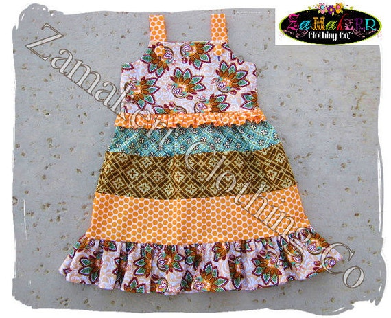 2 / 2T ONLY - Ready To Ship - Girl Fall Dress - Fall Thanksgiving Turkey Jumper Tiered Ruffle Dress size 2T 2