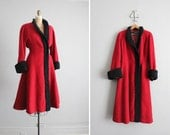 on hold - 1940s vintage red wool persian trim princess coat