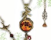 Petite Autumn Glow Necklace - GeoForms SHIMMERZ Petite Glass Art  - Falling Leaves