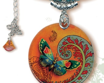 Paisley Butterfly Necklace - BOTANCIALZ Collection by Tzaddishop - Reversible Glass Art Jewelry - Flight of the Butterfly in Orange and Teal
